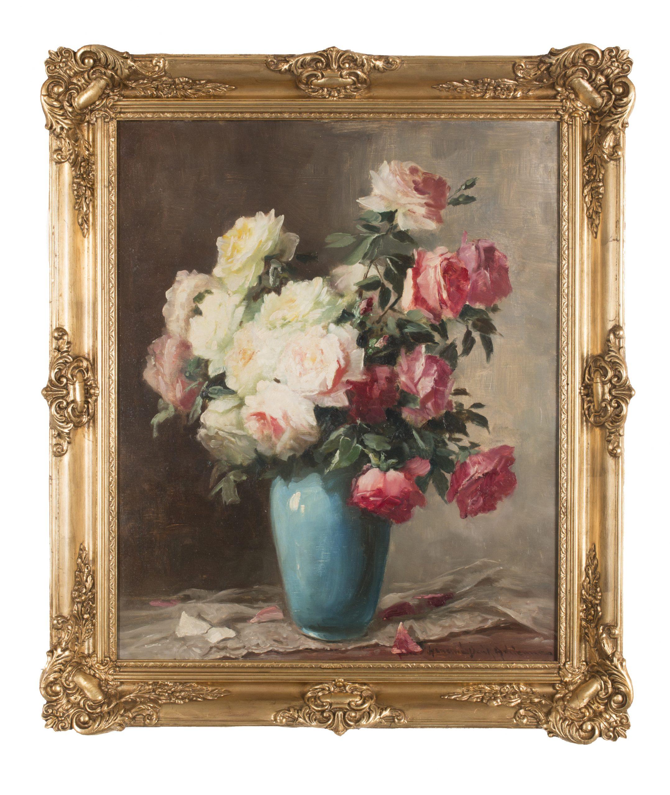 Henczné Deák Adrienne: Rózsacsokor kék vázában