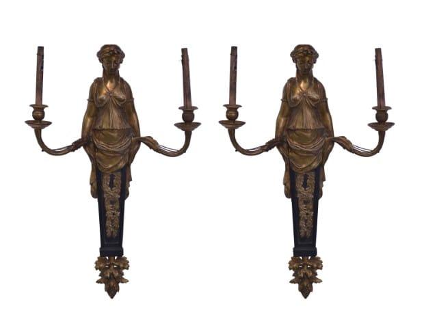 Páros bronz falikar nőalakkal, 1880-as évek