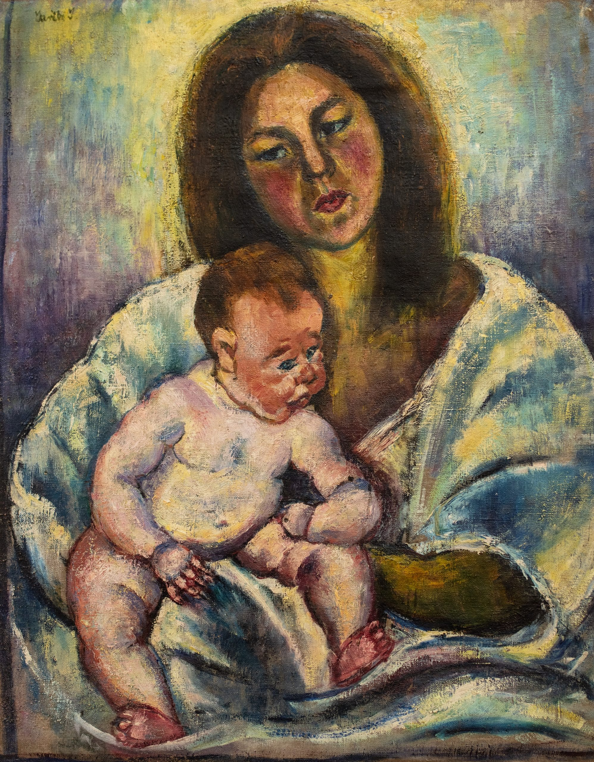 Járitz Józsa: Anya gyermekkel (hátoldalon női portré), 1985