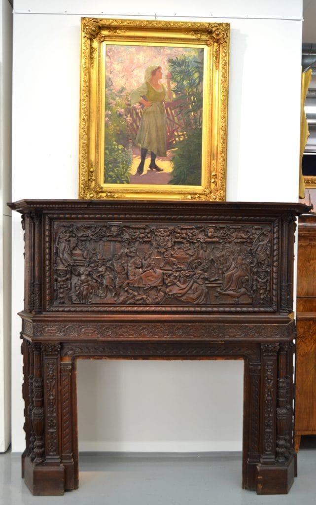Kézzel faragott fa kandallókeret az 1890-es évekből