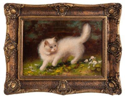 Ismeretlen festő: Vadászó fehér macska