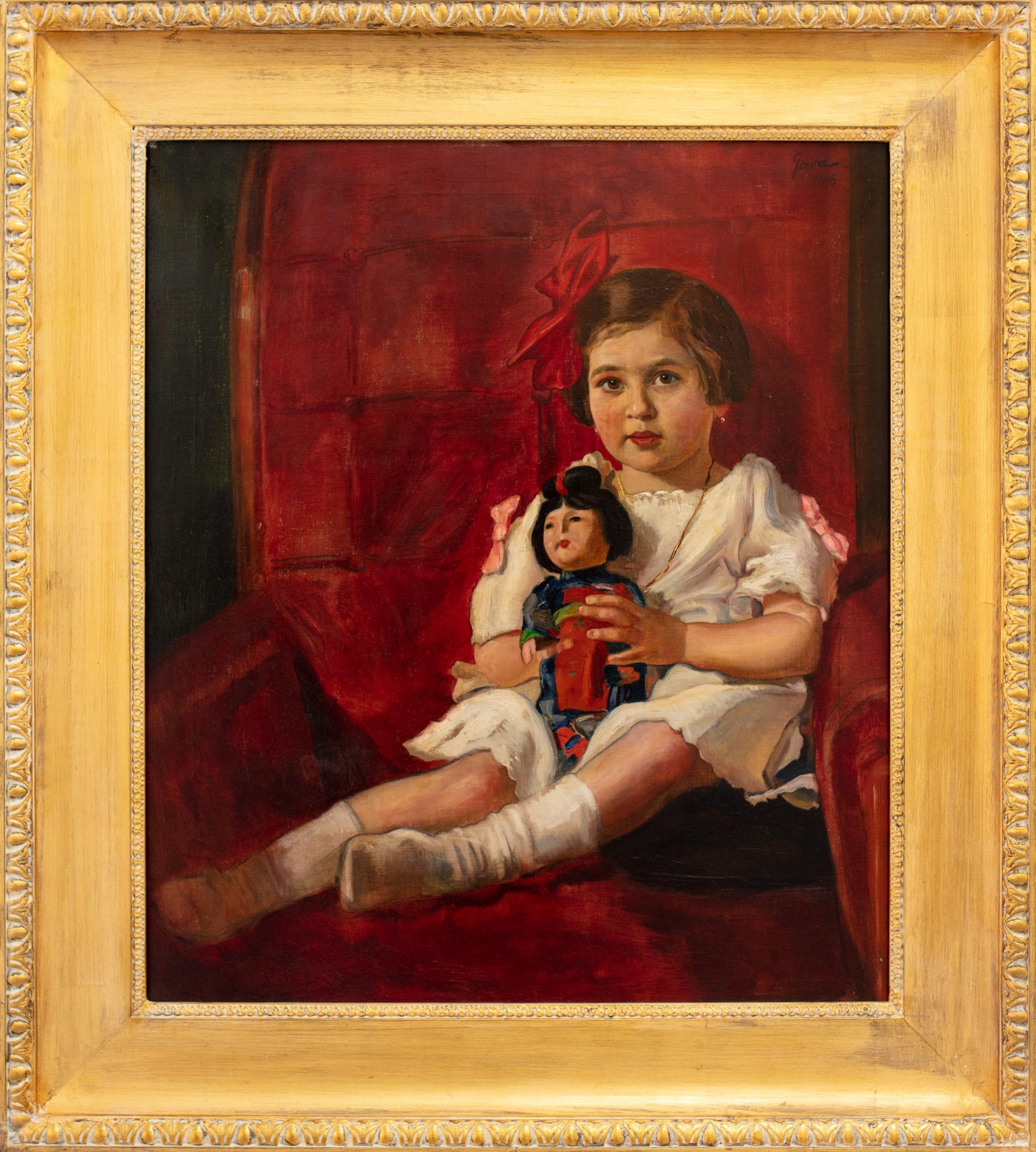 Gara Arnold: Kislány kínai babával, 1916