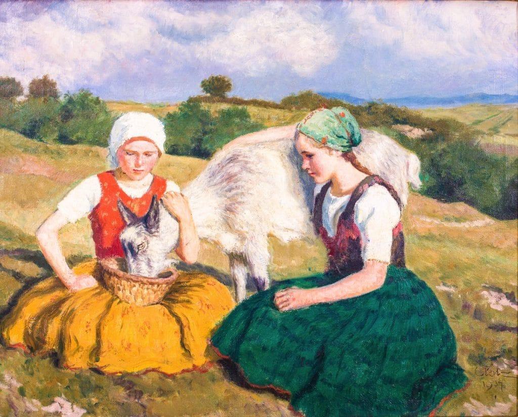 Glatz Oszkár: Bujáki lányok kecskével, 1937