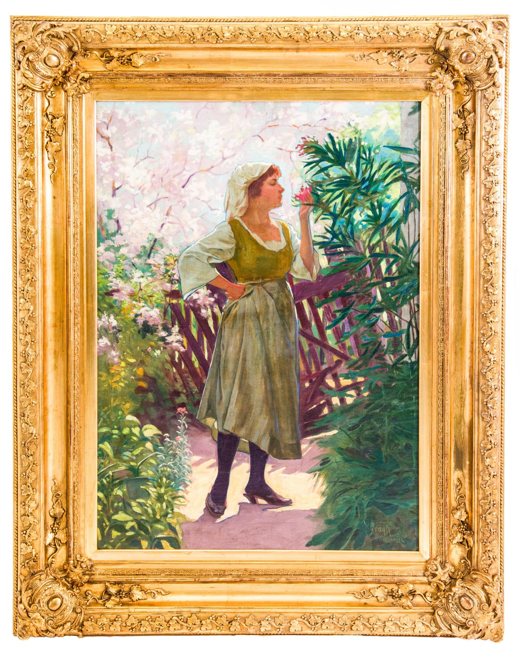 Virágh Gyula: Lány virágok között, 1917