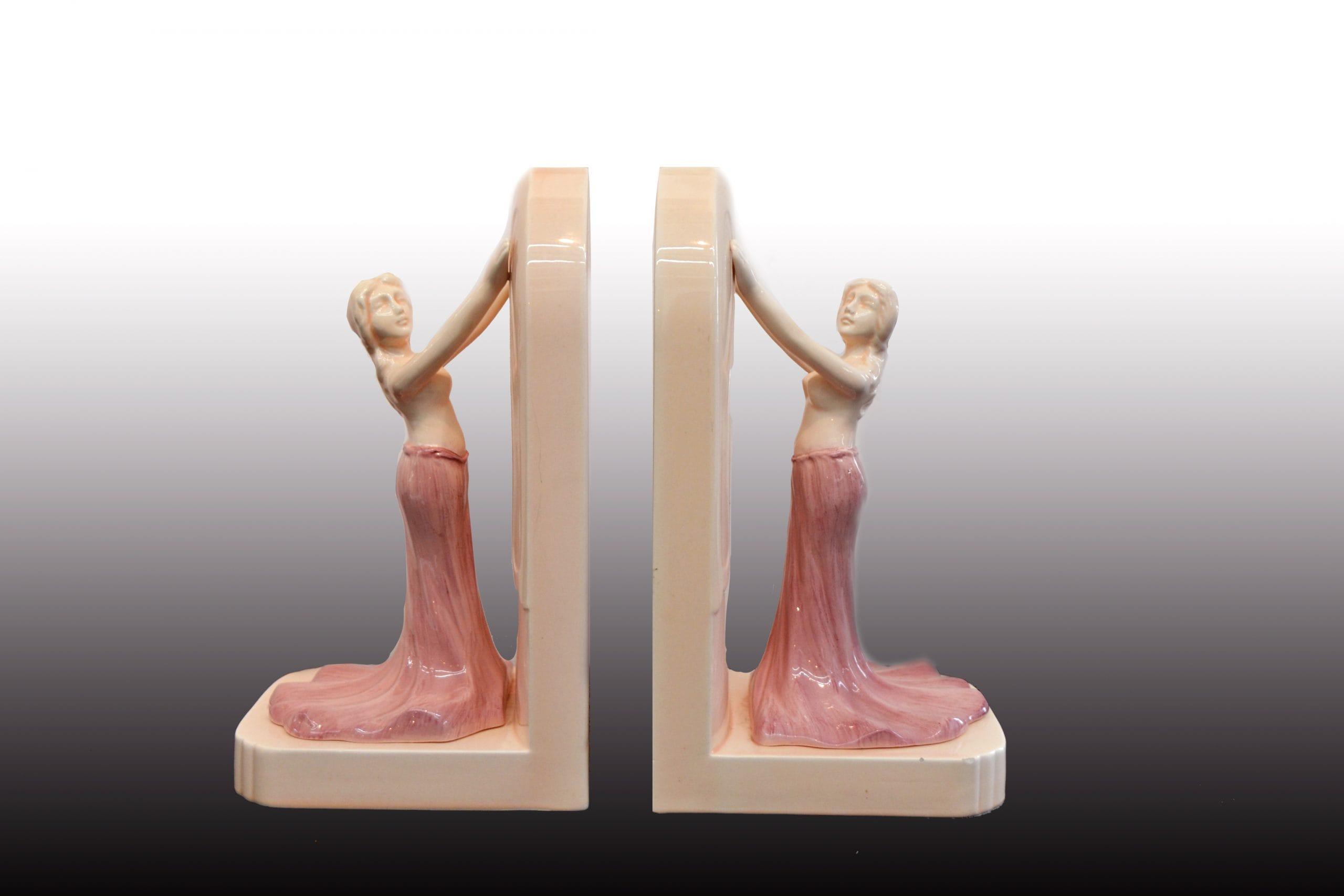 Páros porcelán könyvtámasz szecessziós nőalakokkal