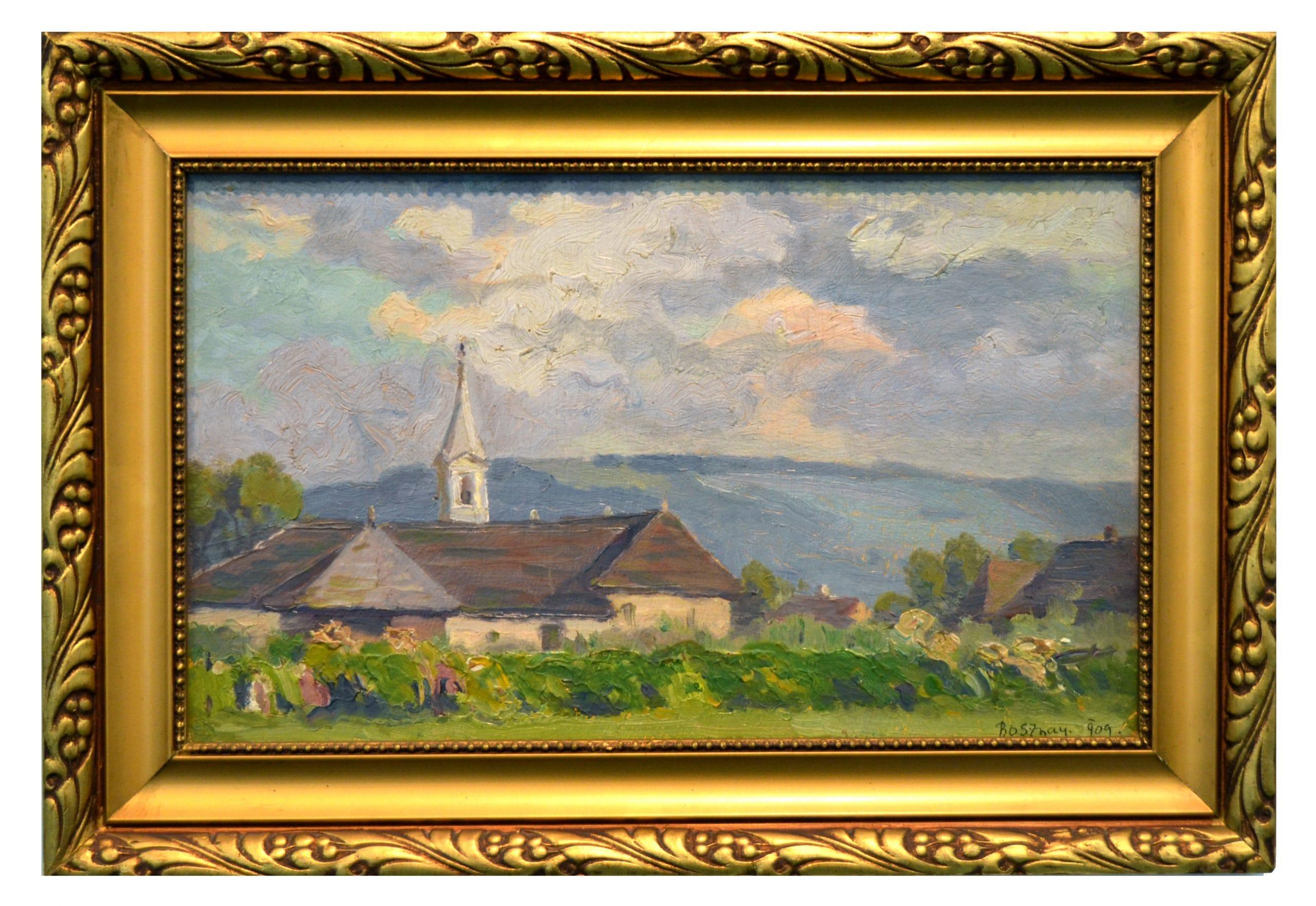 Bosznay István: Látkép templommal, 1909