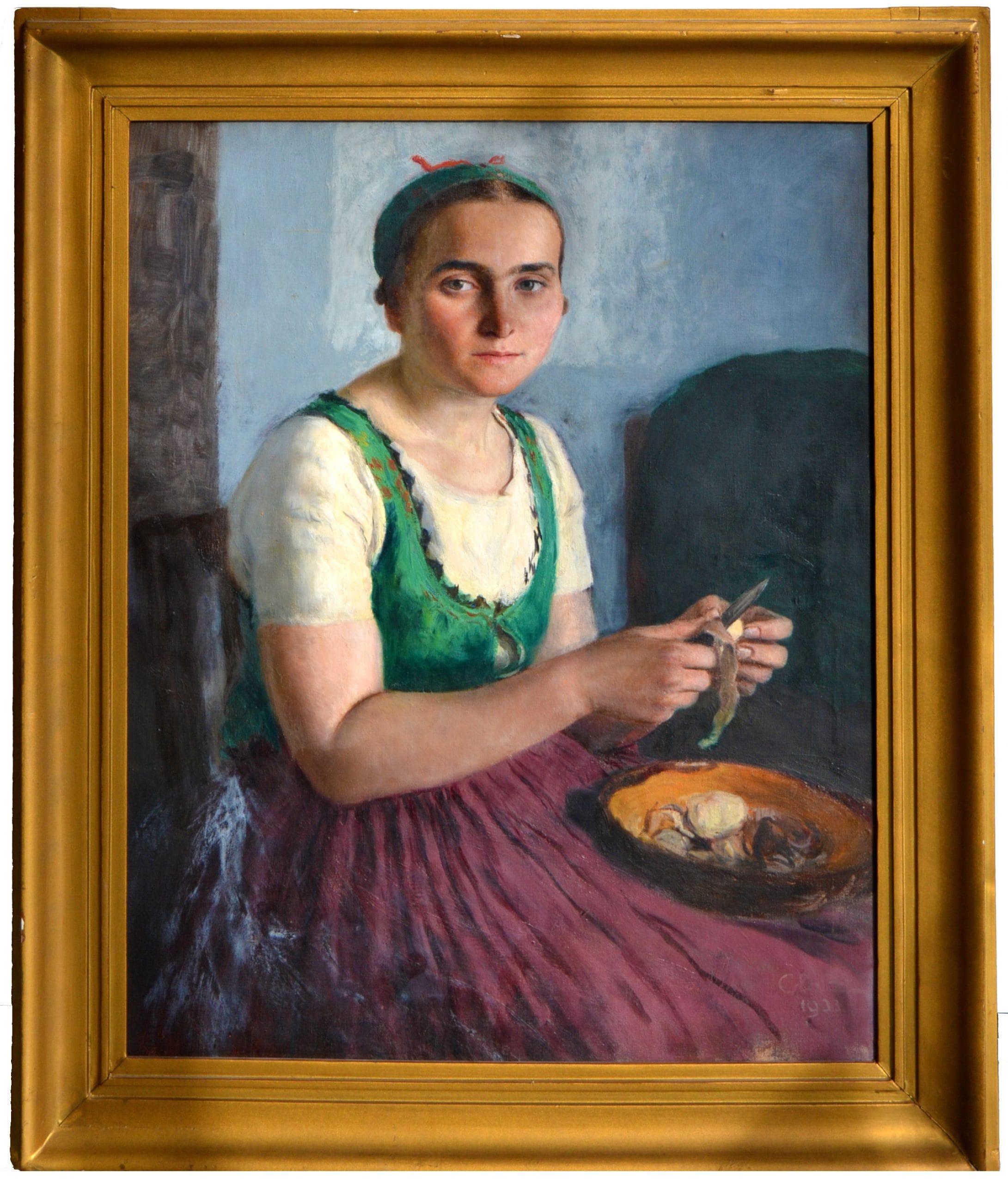Glatz Oszkár: Női portré (Krumplihámozó), 1933