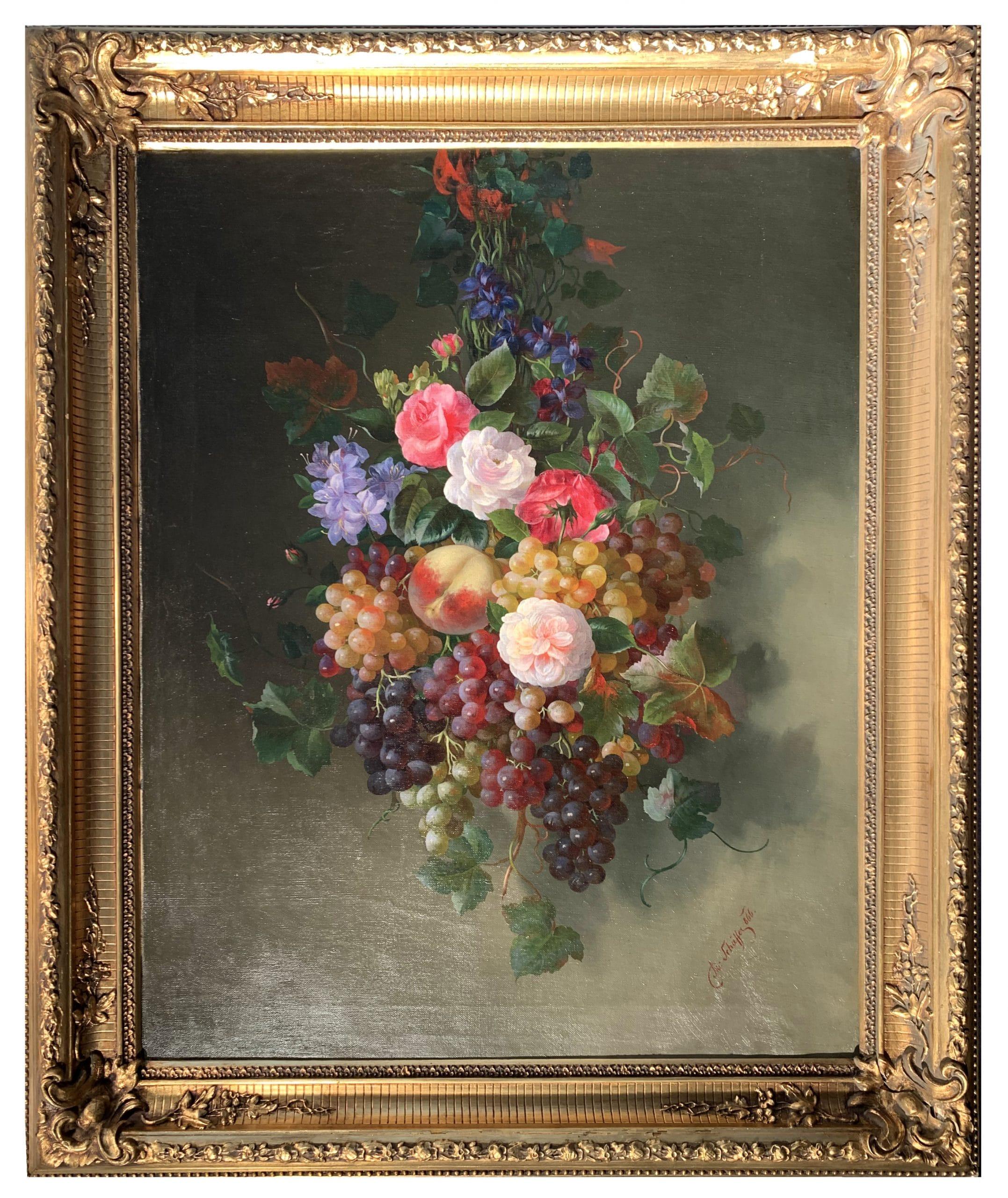 Schäffer Adalbert: Csendélet virágokkal és szőlőfürtökkel, 1866